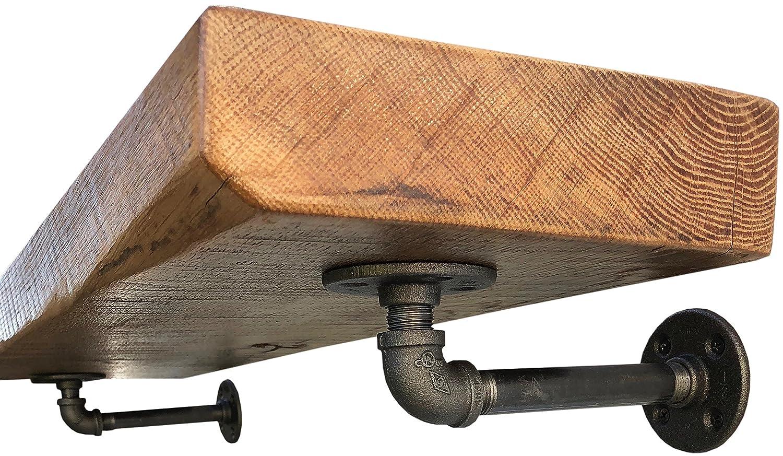 DIY CARTEL Industrial Pipe Wall Mount Floating Shelf Bracket - 2 Pack - Black Iron - Hardware ONLY (7 Inch)