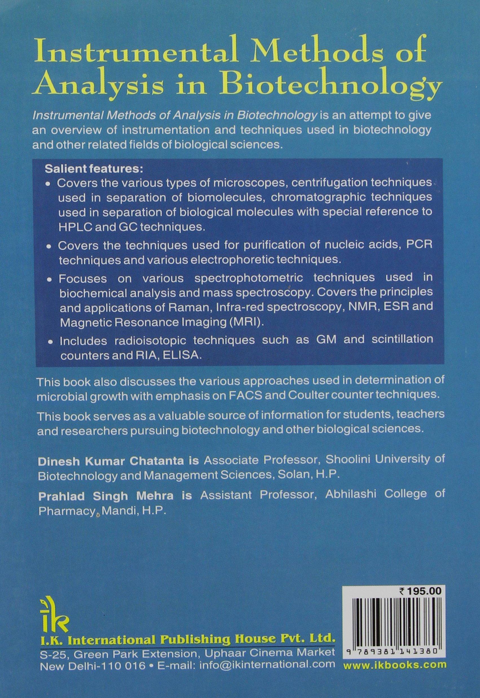 instrumental methods of analysis in biotechnology dinesh kumar