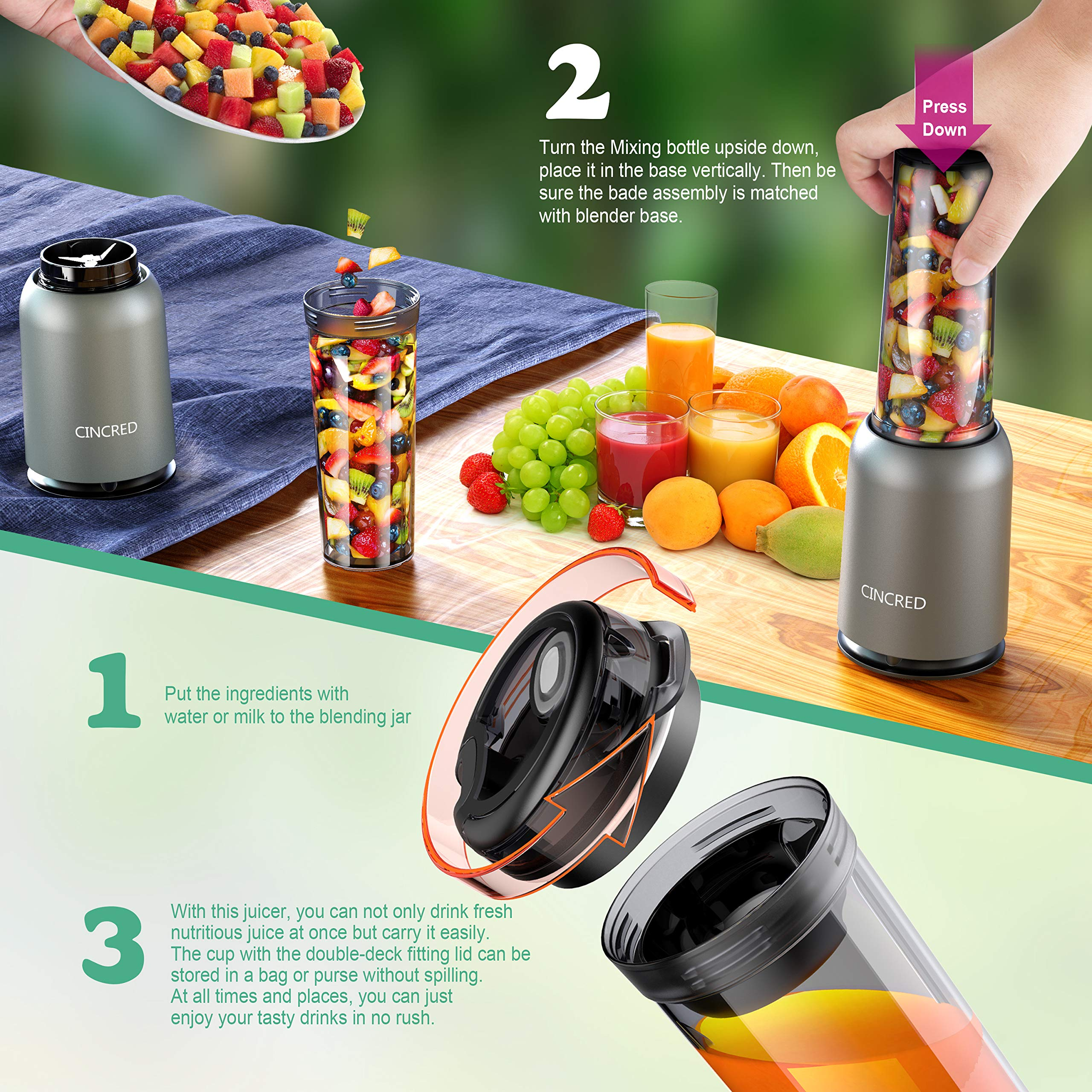 Updated 2019 Version Professional Personal Countertop Blender for Milkshake, Frozen Fruit Vegetables Drinks, Smoothie, Ice, Small Mini Portable Single Food Bullet Blenders Processor Shake Mixer Maker with Cup for Home Kitchen by Cincred (Image #2)