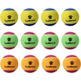 """SCENEREAL Squeaky Tennis Balls for Small Dogs Training and Playing Colorful 12 Pcs/pack 1.6"""""""