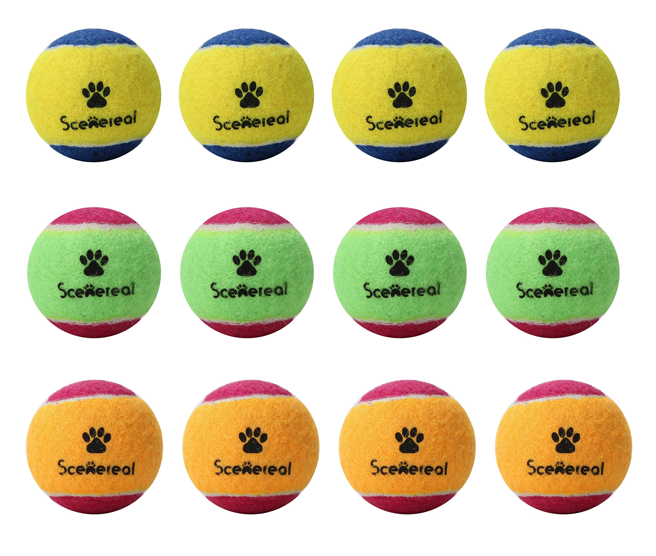SCENEREAL Squeaky Tennis Balls for Small Dogs Training and Playing Colorful 12 Pcs/pack 1.6''