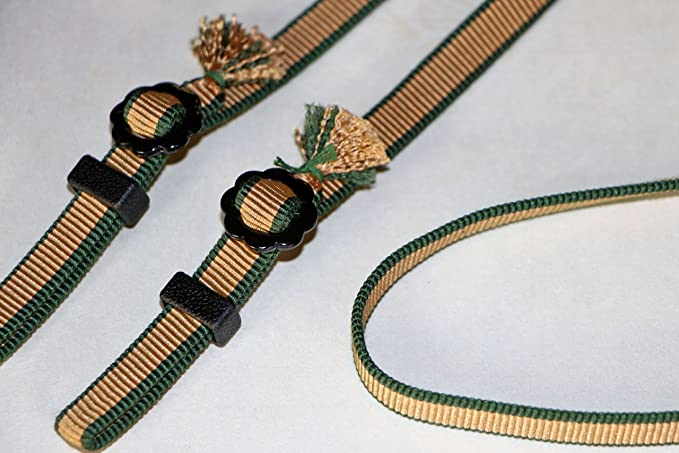 47-Inch Gold-Green Polyphonic And Cotton String ZIN DESIGN OFFICE Kumihimo Camera Strap With Paulowniacase Samurai-Ribbon