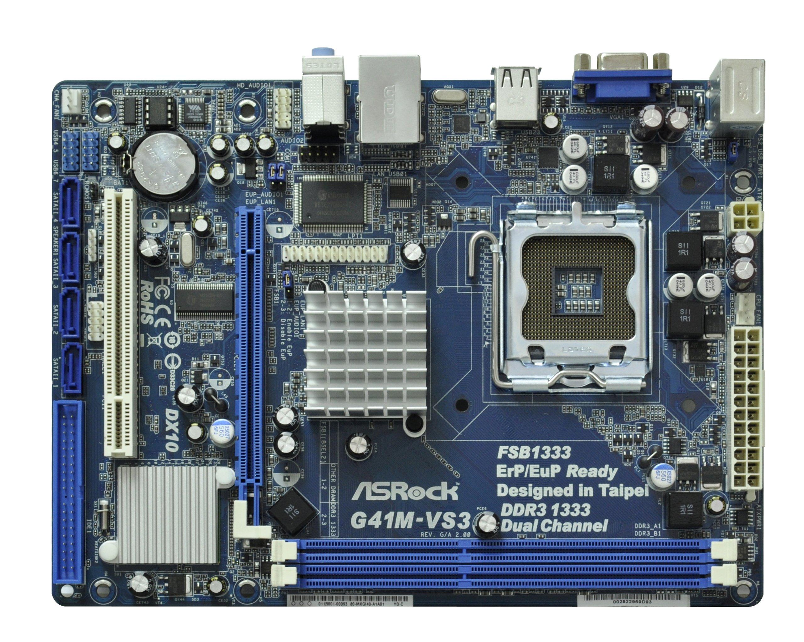 ASRock G41M-VS3 R2.0 Core 2 Quad/Intel G41/ DDR3/ A&V&L/Micro ATX LGA 755 Motherboard by ASRock (Image #2)