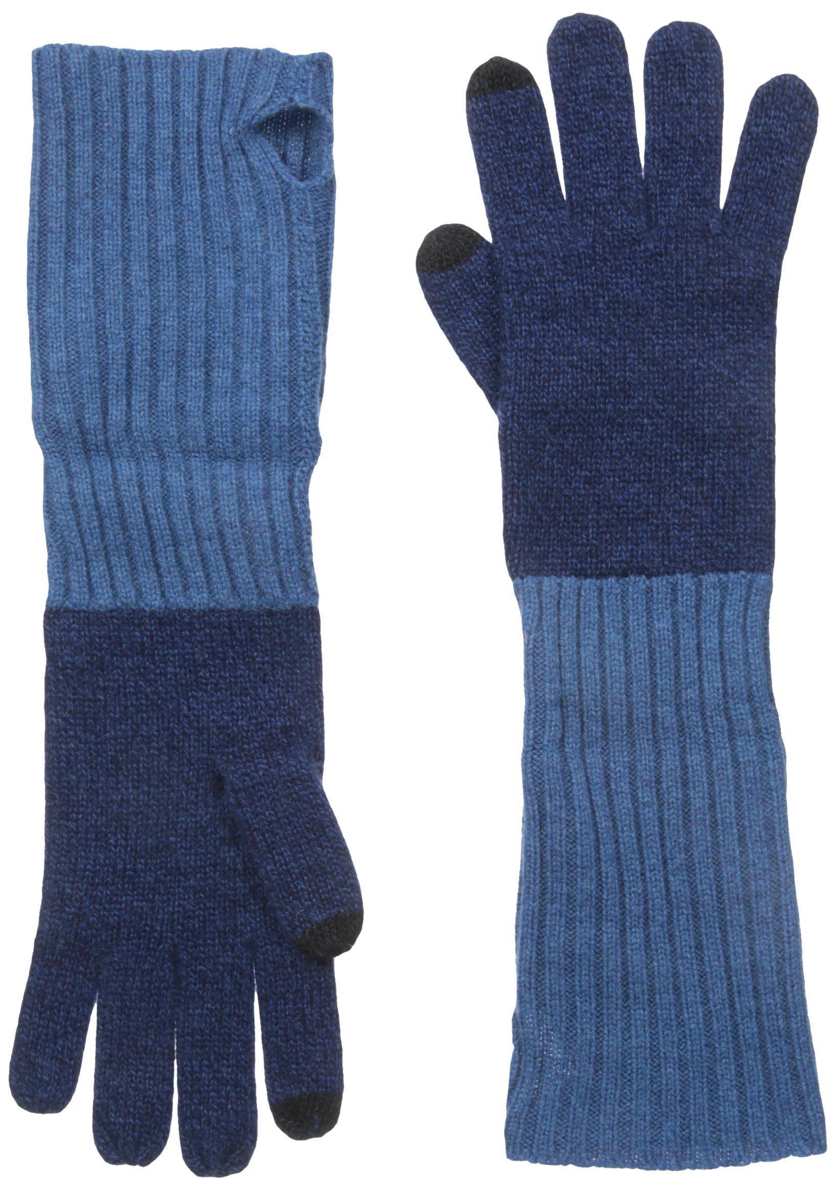 Phenix Cashmere Women's 100 Percent Cashmere Knit Touch Tech Glove, Navy/Teal, One Size
