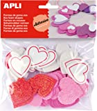 APLI - Bolsa formas EVA adhesiva purpurina formas corazón, 52 uds