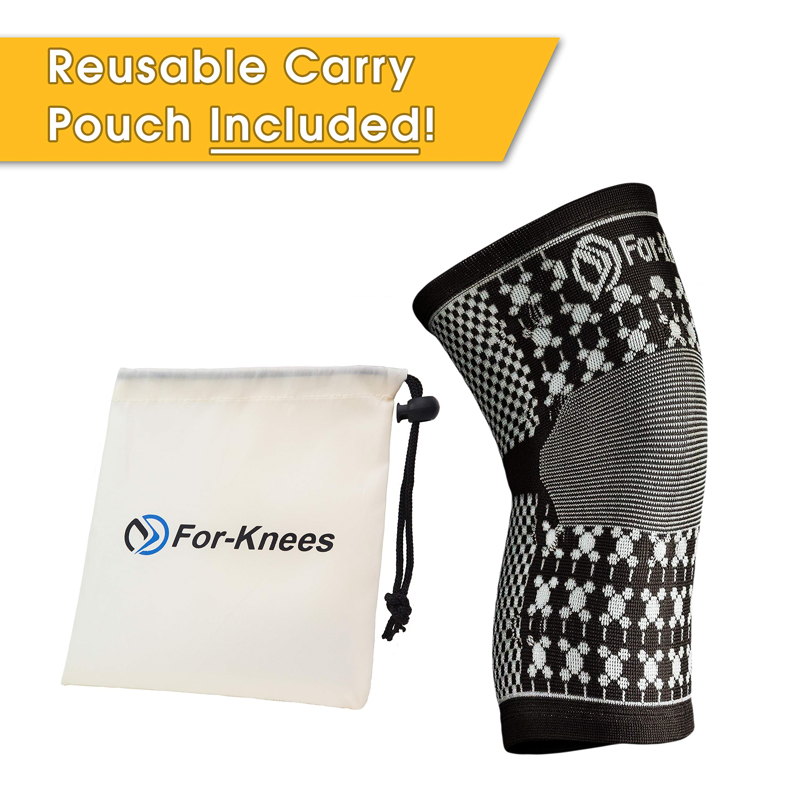 For-Knees Magnetic Knee Compression Brace Support Sleeve -Black Natural Soft Cotton - Latex Elastic Fabric with Magnets. for Sports, Sprains Strains Arthritis Sore Knees Recovery