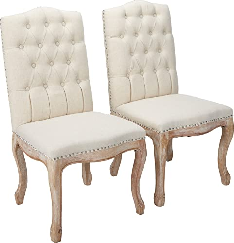 Christopher Knight Home Jolie Tufted Fabric Weathered Hardwood Dining Chair