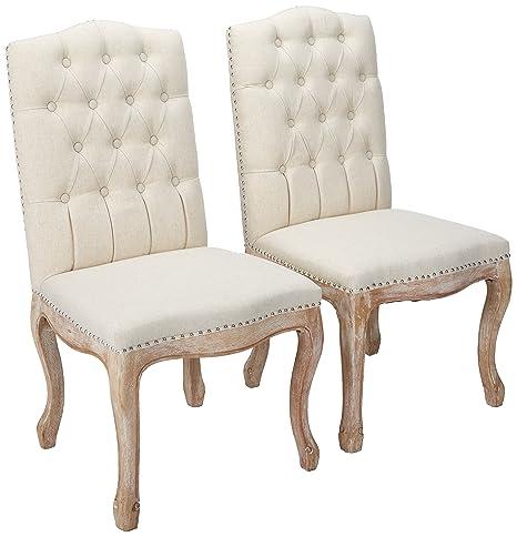 Amazon.com: Jolie Linen - Juego de 2 sillas de comedor de ...