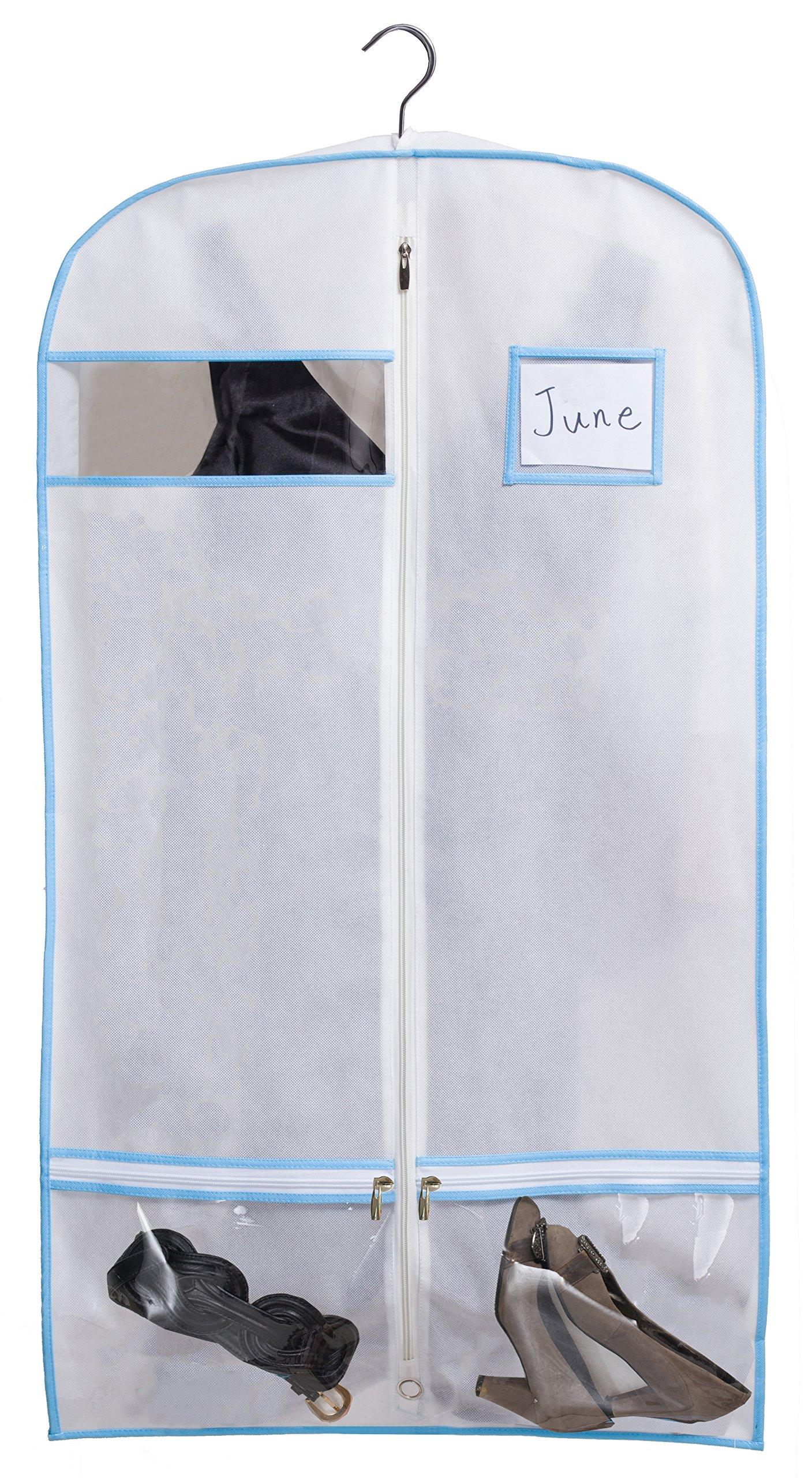 Kimbora 40'' Travel Dance/Dress Costume Garment Bag with Clear Accessories Zipper Pockets Suit Garment Cover (White) by KIMBORA (Image #3)