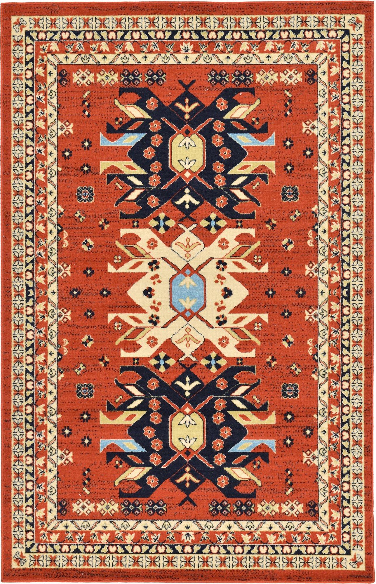 Classic Traditional Geometric Persian Design Area rugs Terracotta 4' 11 x 8' Qashqai Heriz rug