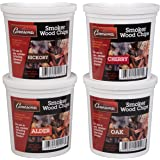 Oak, Cherry, Hickory, and Alder Wood Smoking Chips- 4 Pints - Wood Smoker Shavings Value Pack- Resealable Pints of Extra…