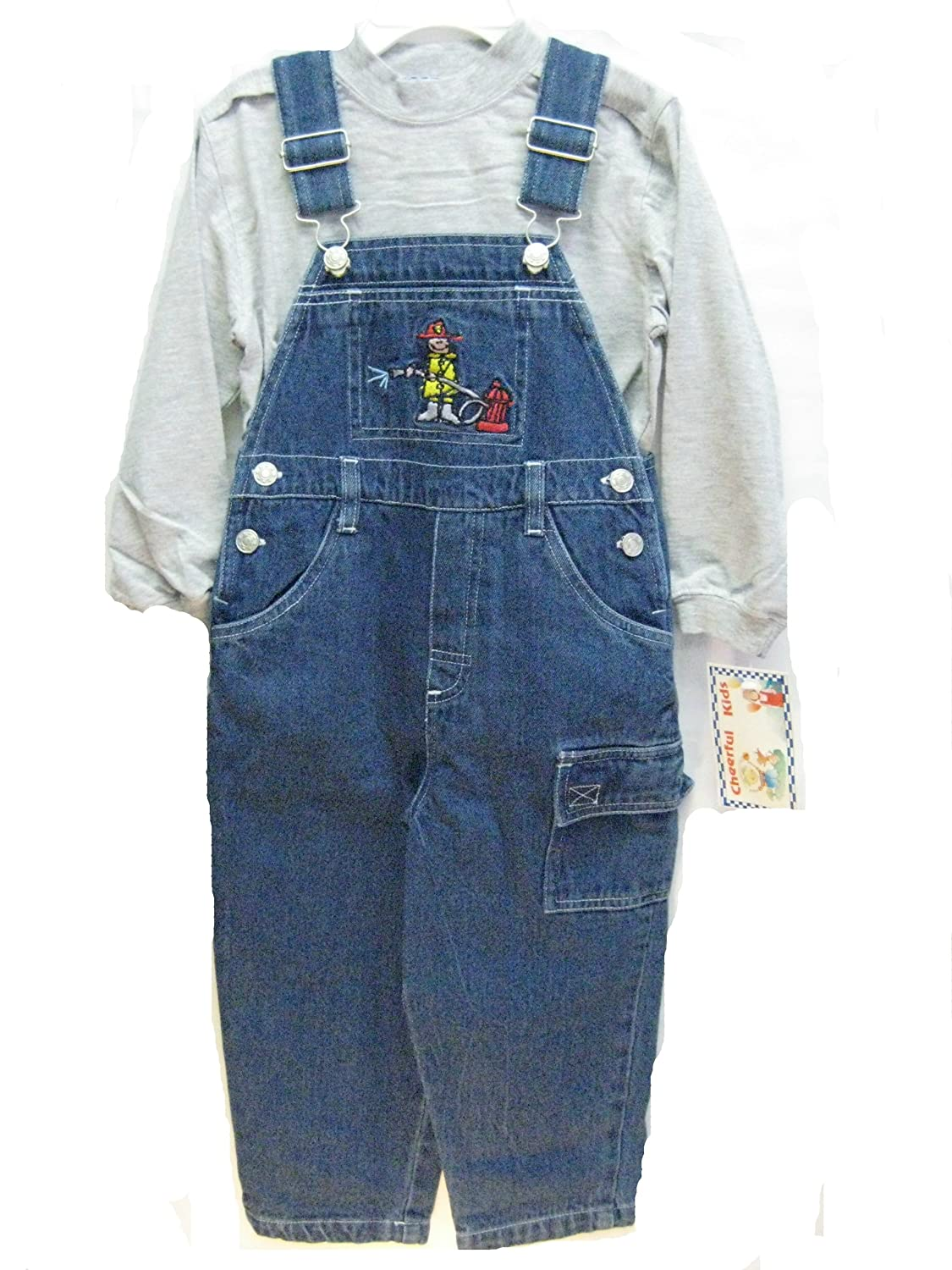 Toddler Boys Sizes 2T/3T/4t Cotton Denim Embroidered Bib Pocket Overall 2-PC Sets