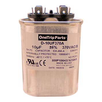 amazon com onetrip parts usa run capacitor 10 uf 10 mfd 370 vac rh amazon com Refrigerator Run Capacitor Wiring Diagram Compressor Run Capacitor Wiring Diagram