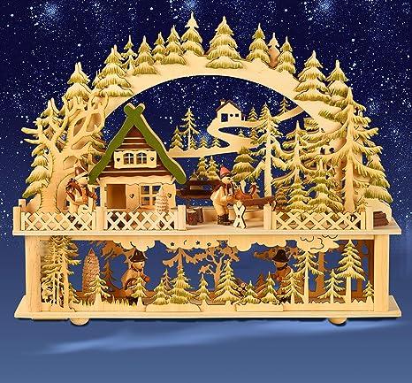 Lichter bogen Seiffener Kirche Weihnachten Deko LED Holz 3D Schwibbogen
