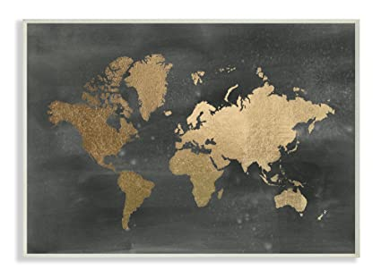 Amazon stupell home dcor black and gold world map wall plaque stupell home dcor black and gold world map wall plaque art 10 x 05 x gumiabroncs Images