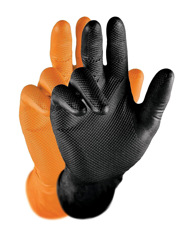 Grippaz Nitril-Handschuhe Orange (50 Stü ck) | Grö ß e XXL | latexfreie Arbeitshandschuhe extrem robust & rutschfest | ohne Puder patentierte Schuppenprä gung | Einweghandschuhe + hygienisch + puderfrei