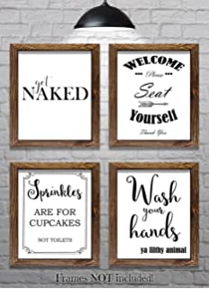 Bathroom Wall Decor Bathroom Sayings And Phrases Art Prints Set Of Four 8 X10 Prints Great Home Decor Gift Idea Set 2 Buy Online In India At Desertcart In Productid 172795638