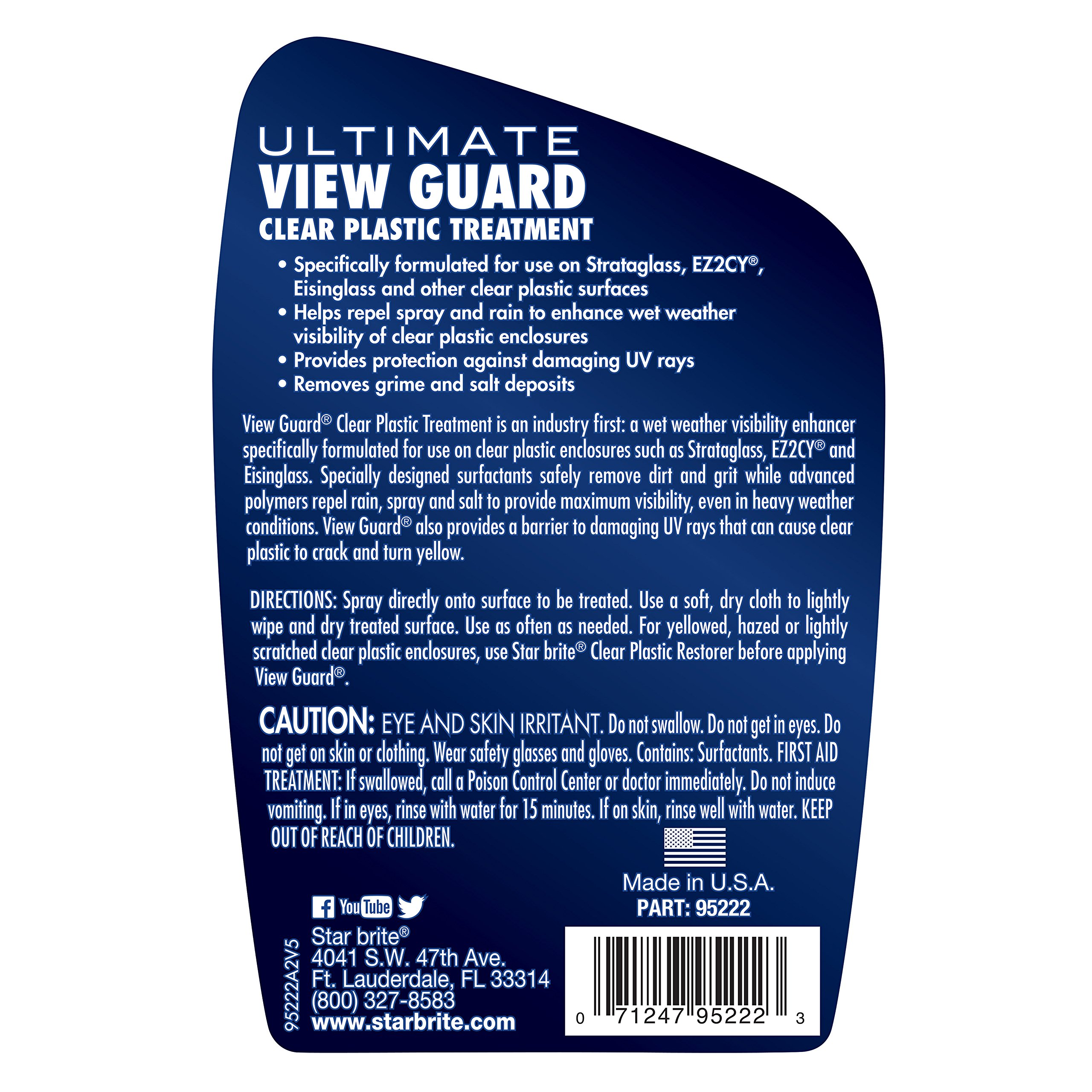 Star brite View Guard Clear Plastic Treatment - 22 oz Spray - Clean & Enhance Wet Weather Visibility for Strataglass, Eisenglass, EZ2CY & Other Clear Plastic by Star Brite (Image #2)