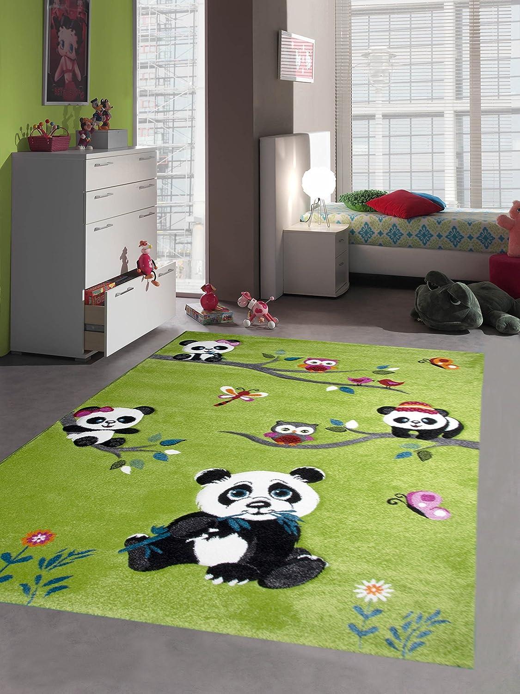 Bambini tappeto di gioco tappeti moquette bambini svegli animali colorati con contorno di taglio disegno del panda con le farfalle e gli uccelli gufo verde Crema Rosa Grigio multicolore Größe 80x150 cm Traum