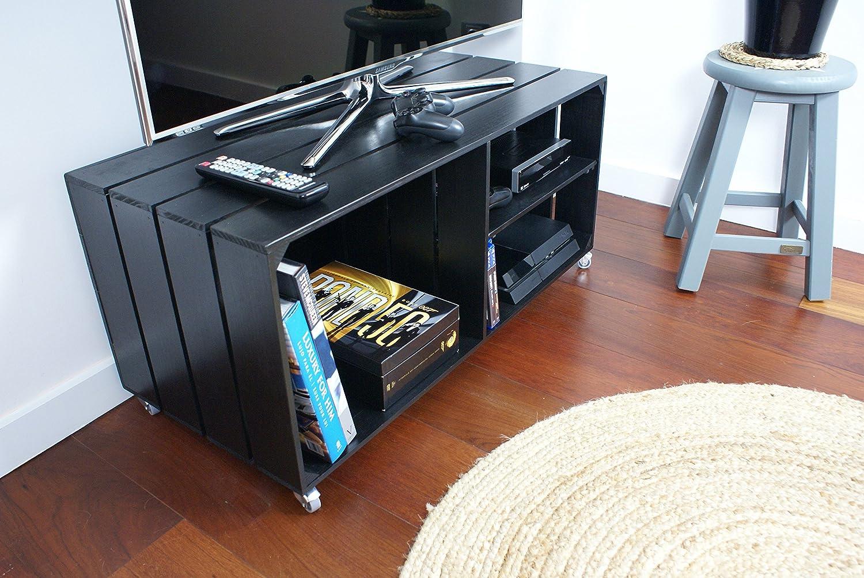Mobile Porta Tv Stile Vintage.Liza Line Mobile Porta Tv E Stereo Basso In Legno Con 3 Vani Con