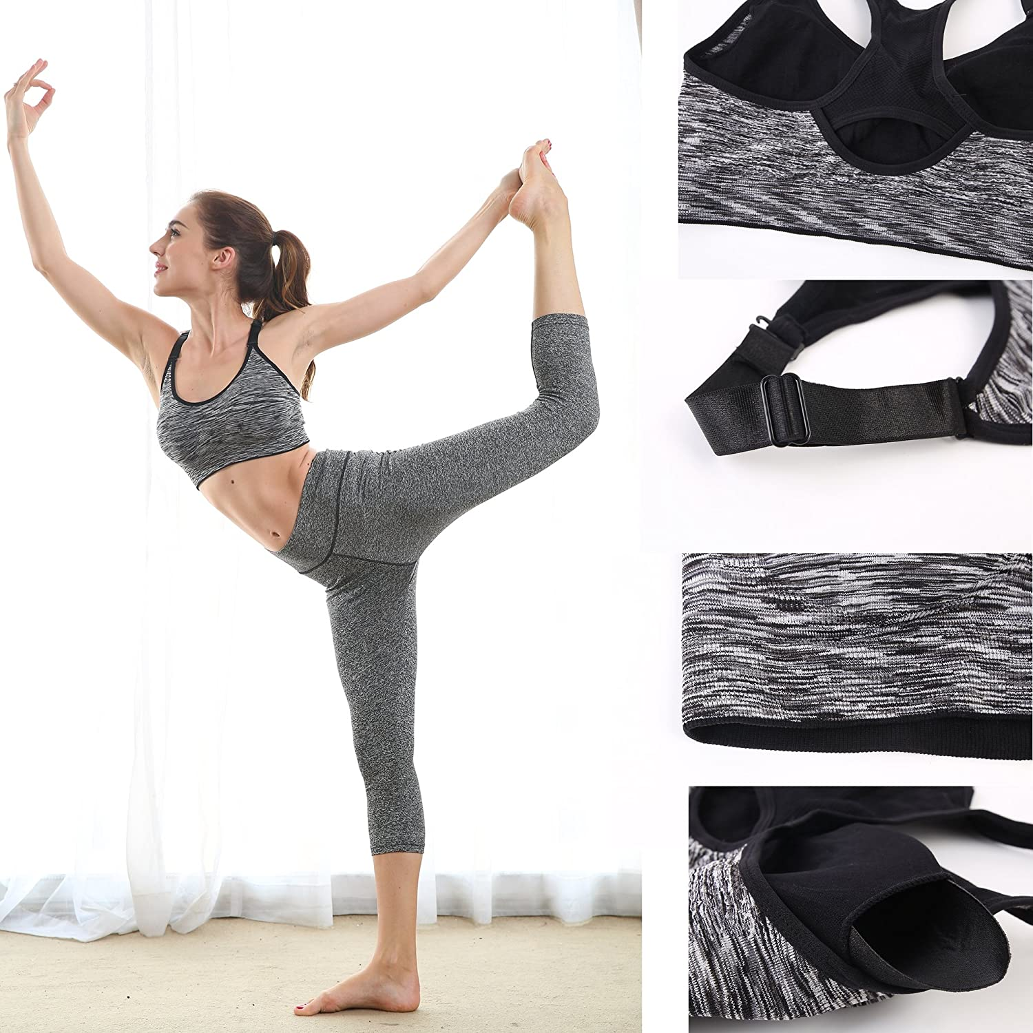 EMY Sports Bra 2 or 5 Pack Space Dye Seamless Stretchy Removable Pads for Yoga Running Fitness Workout