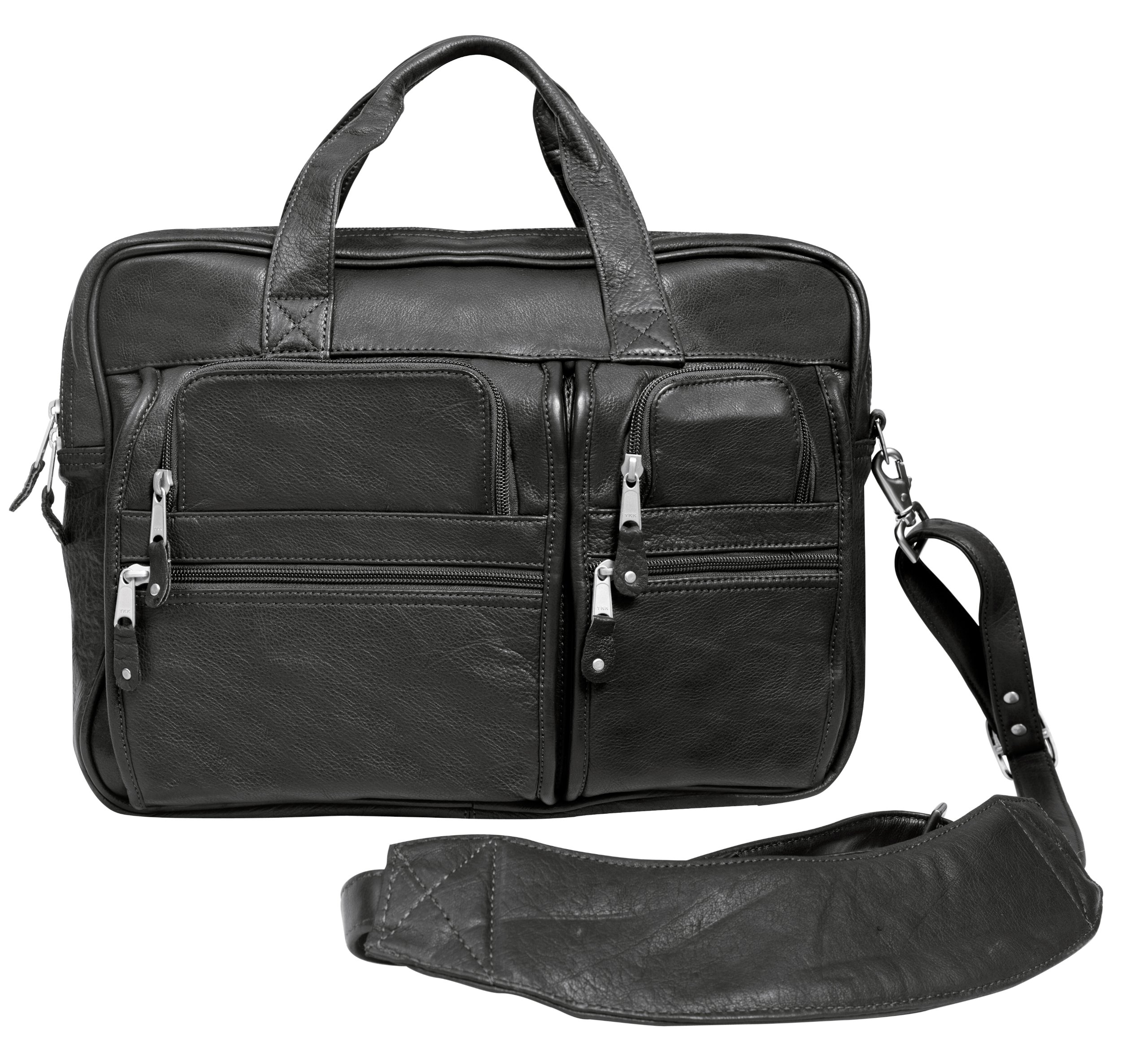 Canyon Outback Blackwater Canyon 15.6-Inch Leather Computer Briefcase, Black, One Size