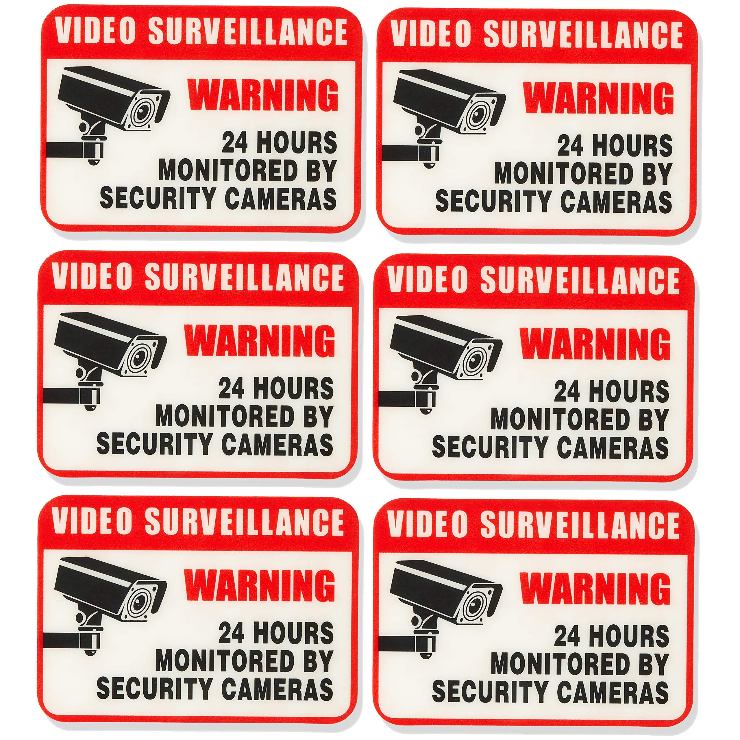 "AmazonBasics Video Surveillance Sign, 2 1/2"" x 3 1/2"", 6-Piece"