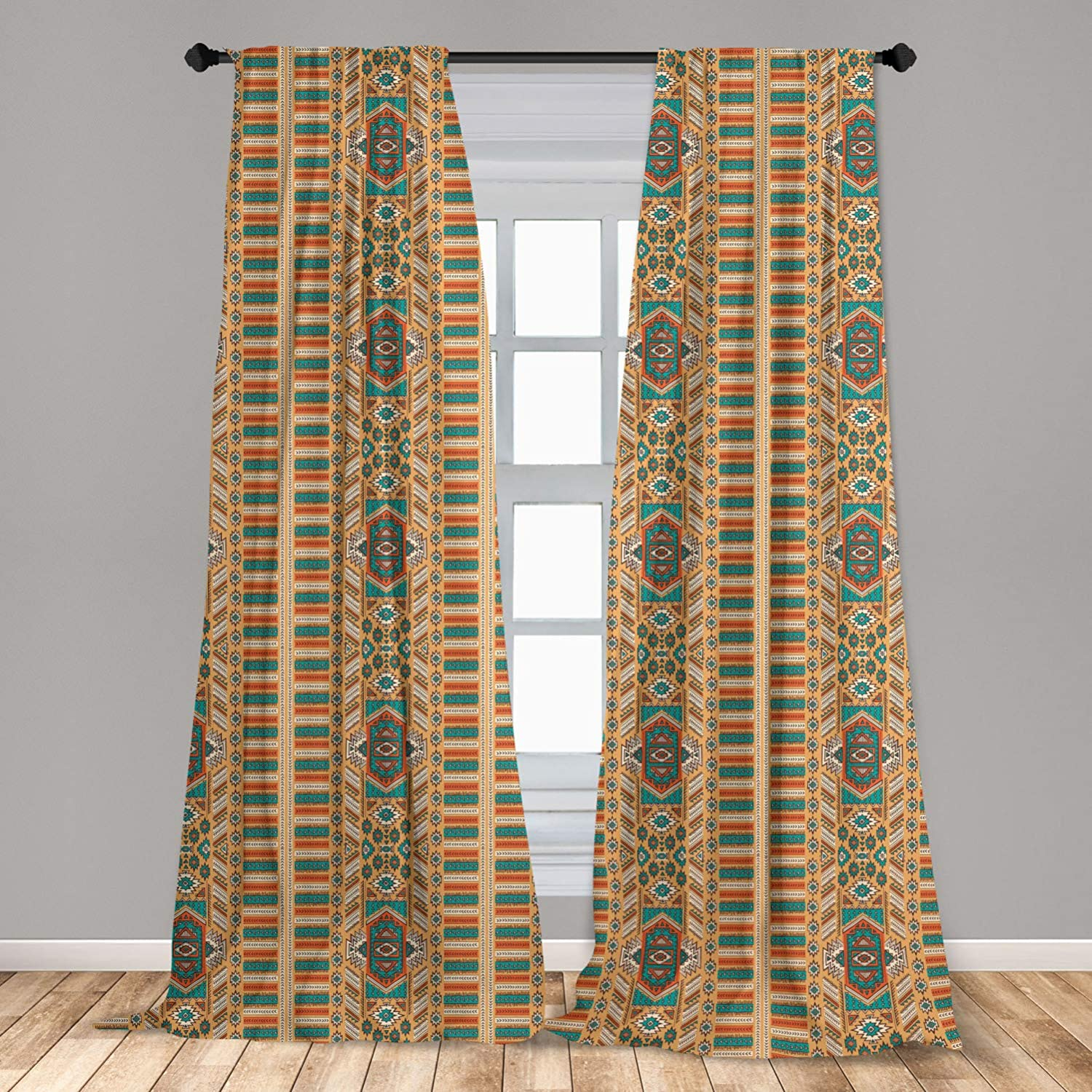 """Ambesonne Tribal Window Curtains, Secret Tribe Pattern in Bohemian Style, Lightweight Decorative Panels Set of 2 with Rod Pocket, 56"""" x 84"""", Apricot Orange"""