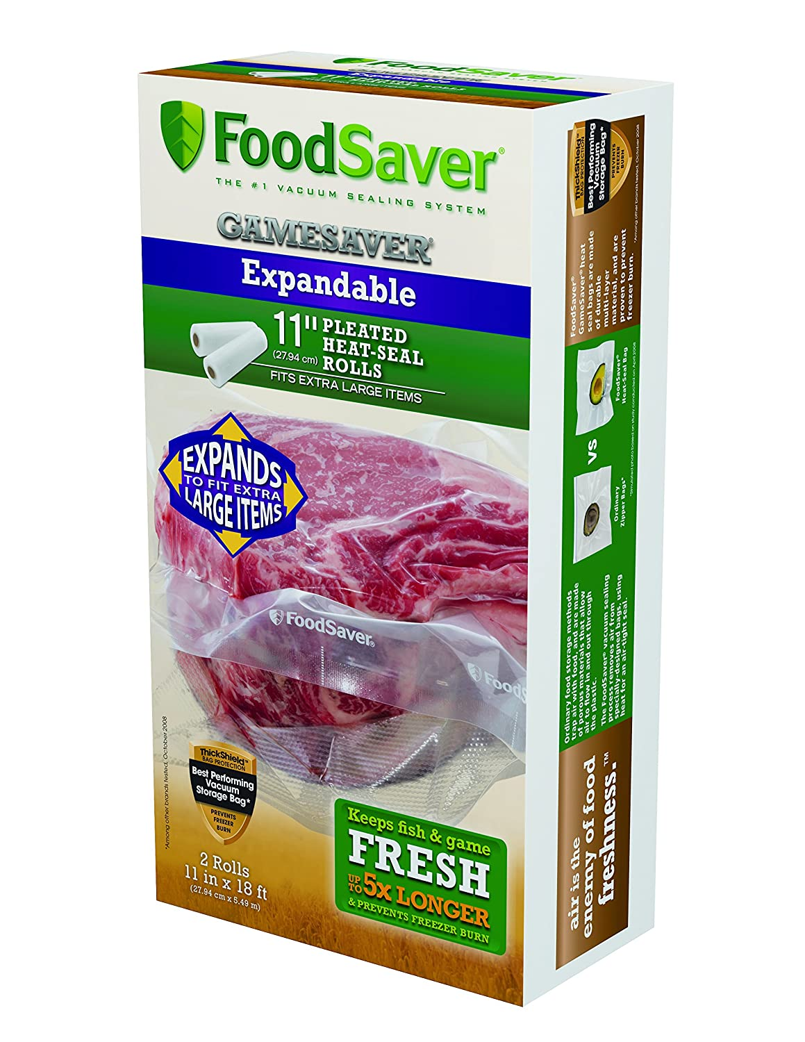 "Foodsaver 11"" x 18' GameSaver Expandable Vacuum Bag Rolls, 2-Pack"