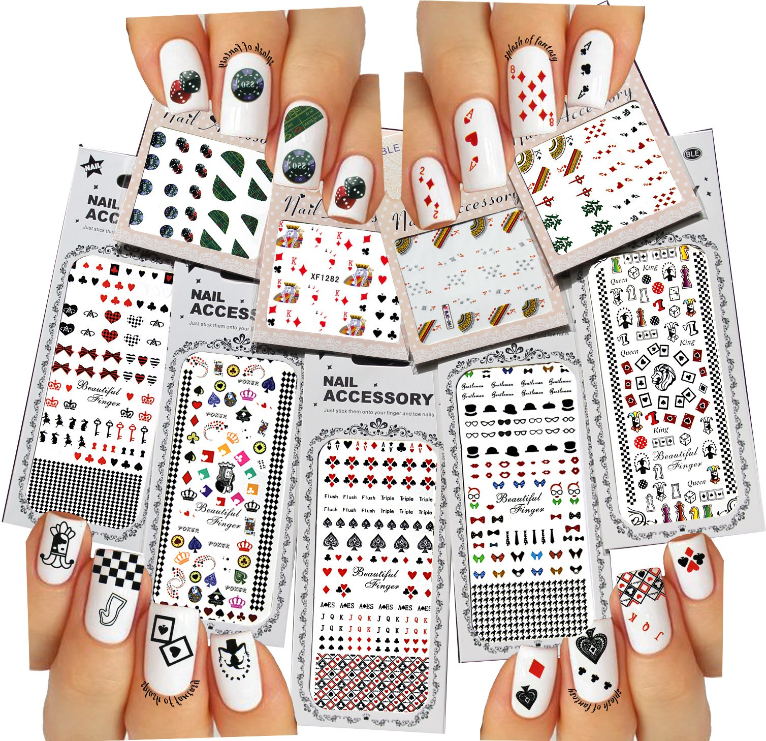 Nail Art Water Slide Tattoos ♥ Fun Designs: Playing Cards, etc. ♥ For a Fun Manicure 9 - Pack /PLI/ by La Demoiselle