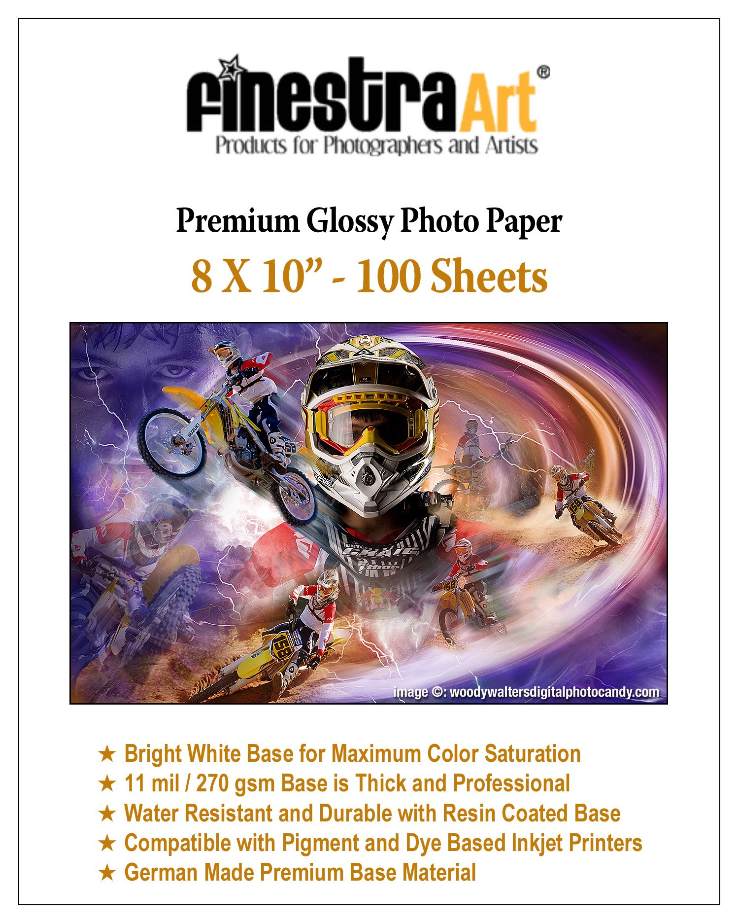 Finestra Art 100-Sheets Glossy Photo Paper, 8-Inch x 10-Inch, 11 mil / 270 gsm
