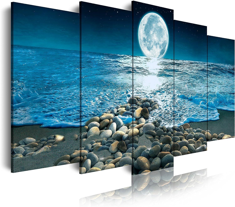 DekoArte - Cuadros Modernos Impresión de Imagen Artística Digitalizada | Lienzo Decorativo Para Tu Salón o Dormitorio | Estilo Paisaje Nocturno con la Luna iluminando la Playa | 5 Piezas 150 x 80 cm