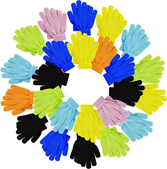 Stretchy Wholesale for Boys or Girls Toddlers Children Colorful Cute 12 Pairs Warm Kids Winter Magic Gloves Fun