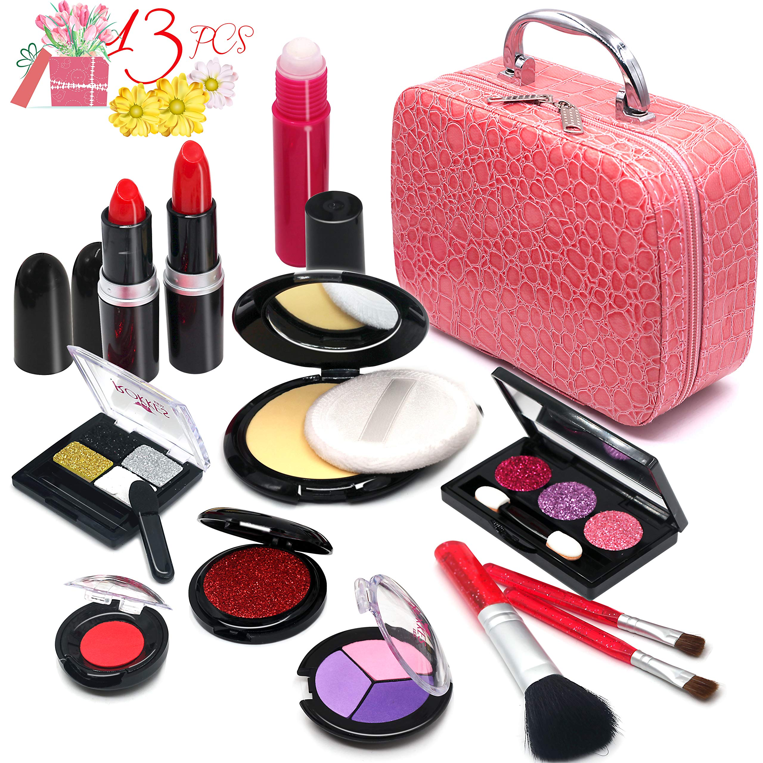 Pretend Makeup Girls Cosmetic Toys - Fake Make Up Kit Pretend Rubber Cosmetic Beauty Set for Kids Princess Play Game Christmas Birthday Gifts Toys for 2 3 4 5 6 Years Old Girls Gift by For Ideahome