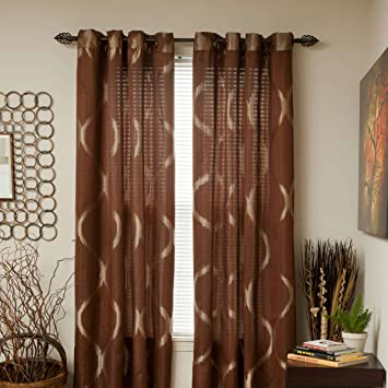 Lovely Lavish Home Metallic Grommet Curtain Panels, 84 Inch, Brown