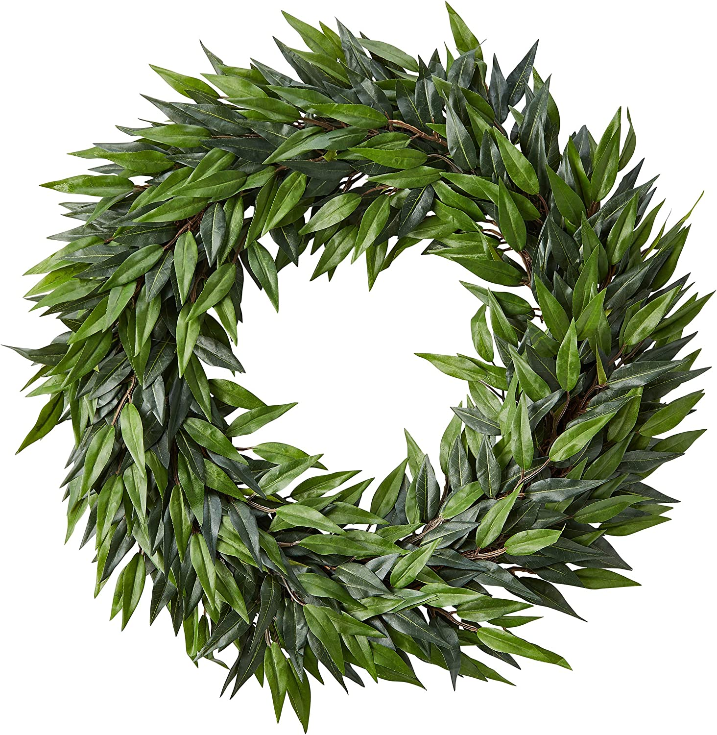 Pure Garden 22-Inch Artificial Ficus Microphylla Leaf Wreath – Indoor Lifelike Round Faux Greenery - Seasonal and Holiday Decor - Home or Office
