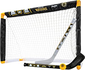 Franklin Sports NHL Mini Hockey Sets - Knee Hockey Goal, Ball, & 2 Hockey Stick Combo Set - Mini Goal Net - NHL Official Hockey Sets