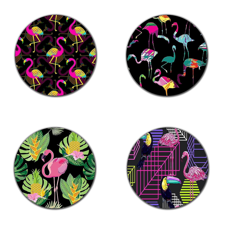 Flamingoシルエットペイントブラッシュコースター-- 4インチdiameter-round – ネオプレンコースター--環境に優しい、100 %再生ゴム製4のセット   B06ZYK9WQD