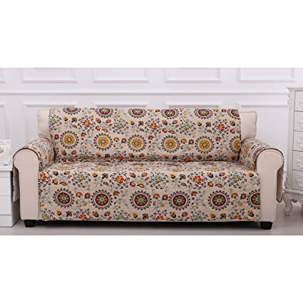 1 Piece White Red Floral Theme Sofa Protector, Geometric Flower Pattern  Couch Protection Flowers Roses