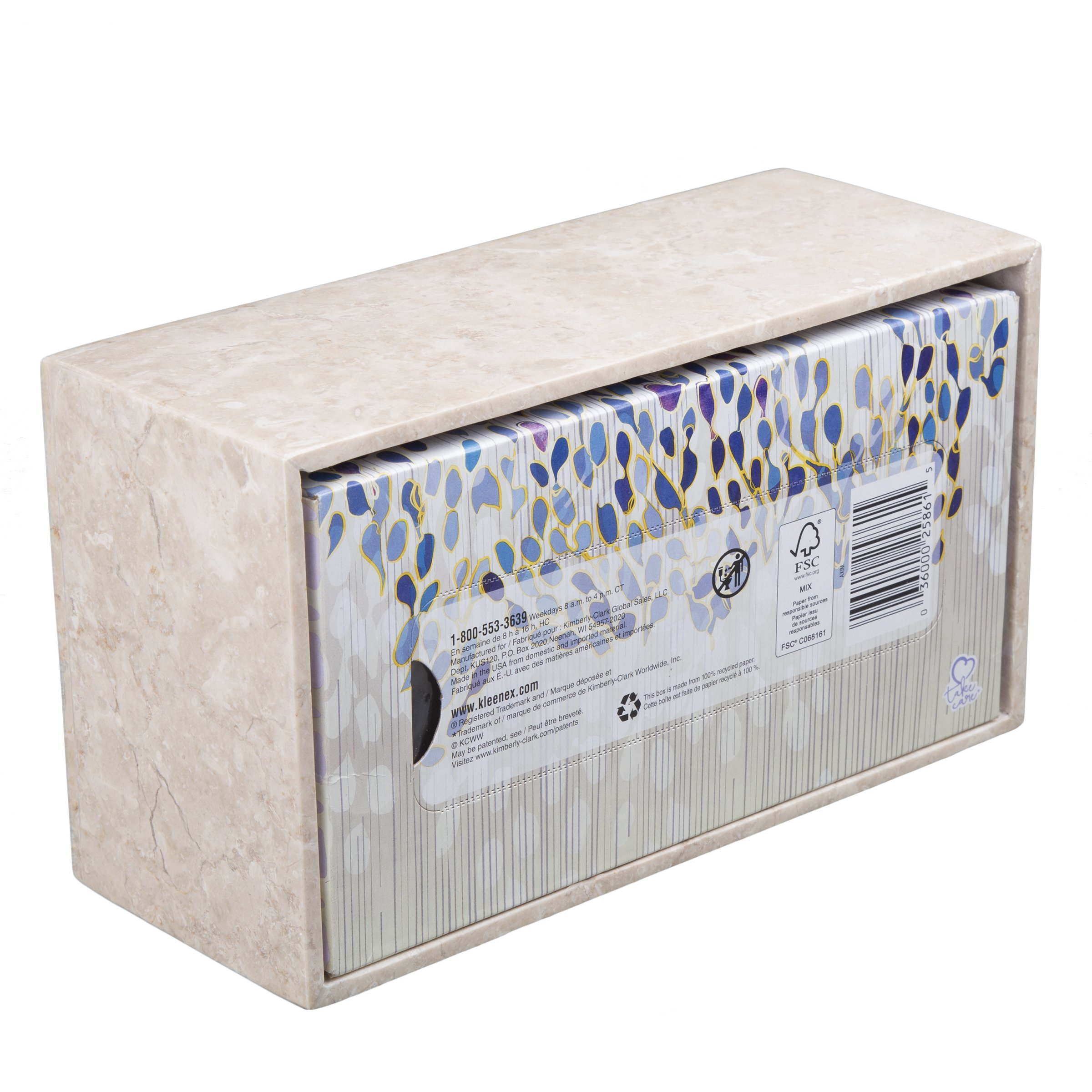 Creative Home Champagne Marble Stone Rectangular Tissue Box Holder Cover 9-1/2'' L x 5-1/4'' W x 3-1/2'' H Beige by Creative Home (Image #5)