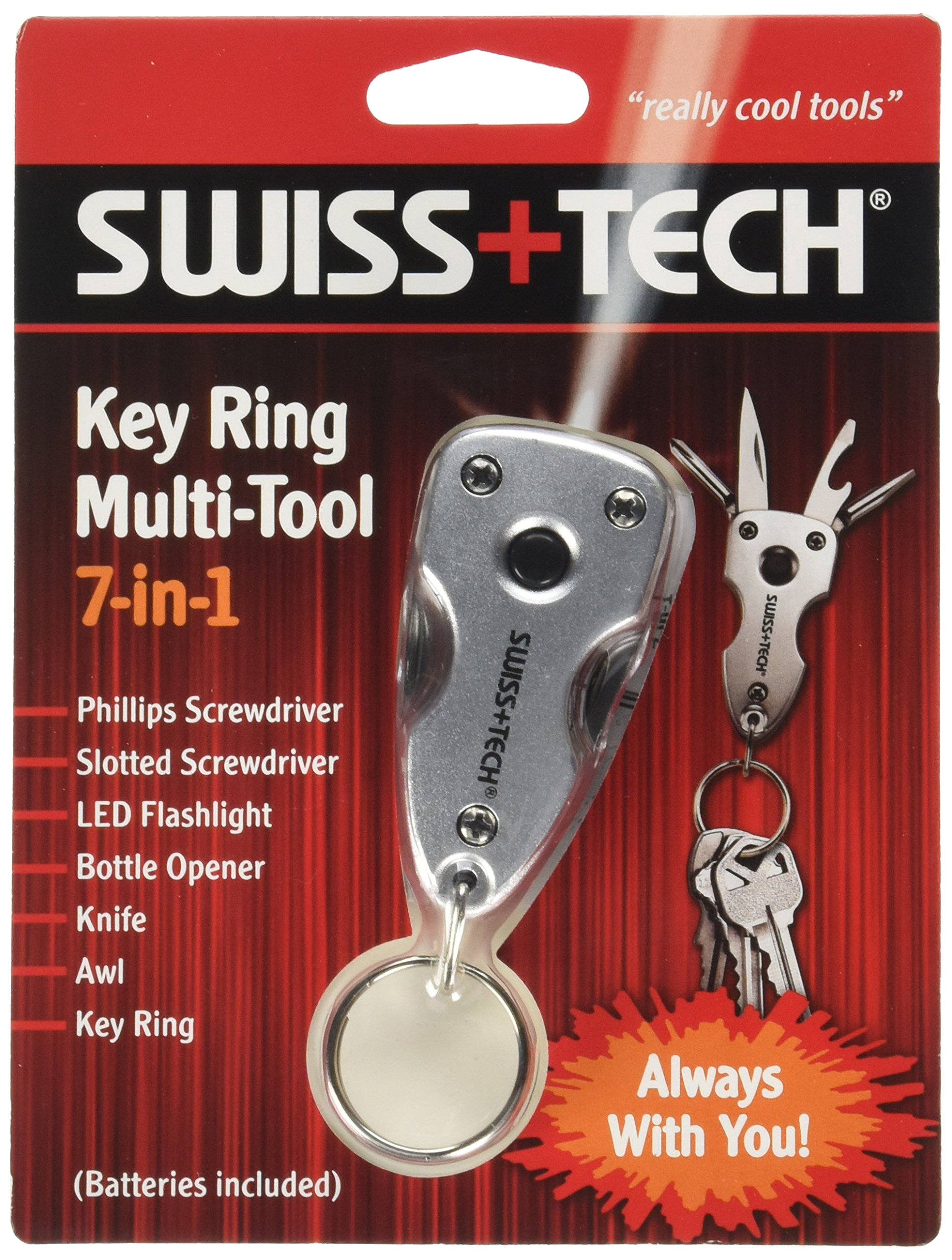 Swiss+Tech ST60300M2 Key Ring Multitools (7-in-1) with LED Flashlight for Auto Safety, Outdoors, Camping - 2 Pack, Silver