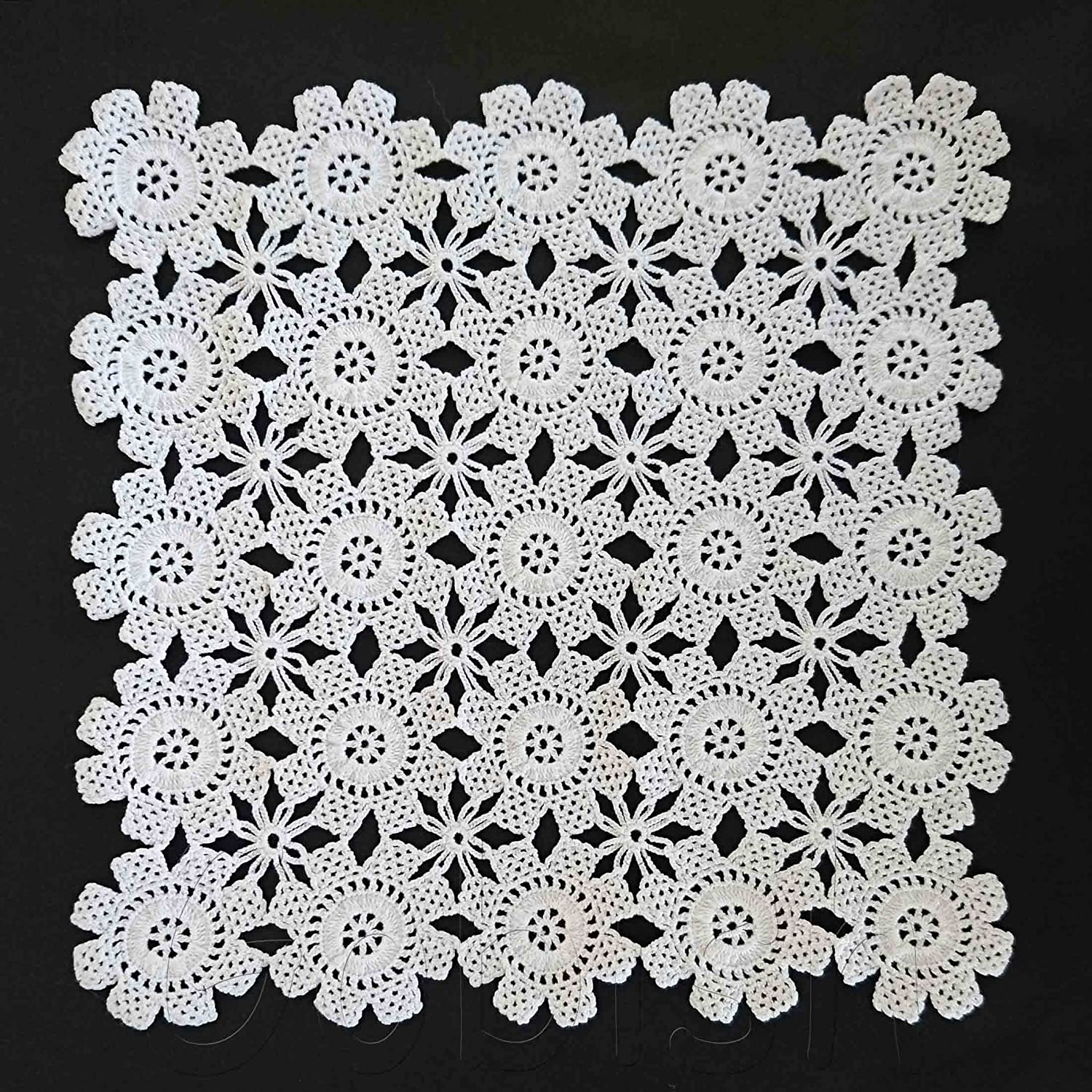 Handmade Crocheted White Square Doily Small Tablecloth White Doilies