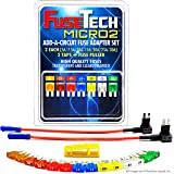 FuseTech Micro2 17 Piece Automotive Fuse Assortment and Holders Pack (2 Add-a-Circuit Fuse Tap Adapters, 14 Blade Fuses + Fuse Puller) 5A 7.5A 10A 15A 20A 25A 30A