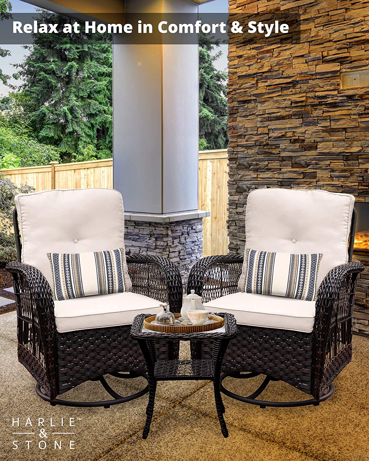 Harlie & Stone Outdoor Swivel Rocker Patio Chairs Set of 2 and Matching Side Table - 3 Piece Wicker Patio Bistro Set with Premium Fabric Cushions: Kitchen & Dining