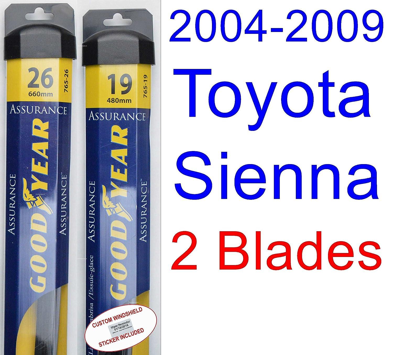 Amazon.com: 2004-2009 Toyota Sienna Replacement Wiper Blade Set/Kit (Set of 2 Blades) (Goodyear Wiper Blades-Assurance) (2005,2006,2007,2008): Automotive