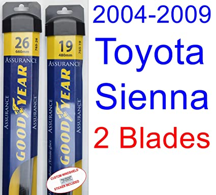 Amazon.com: 2004-2009 Toyota Sienna Replacement Wiper Blade Set/Kit (Set of 2 Blades) (Goodyear Wiper Blades-Assurance) (2005,2006,2007,2008): Automotive