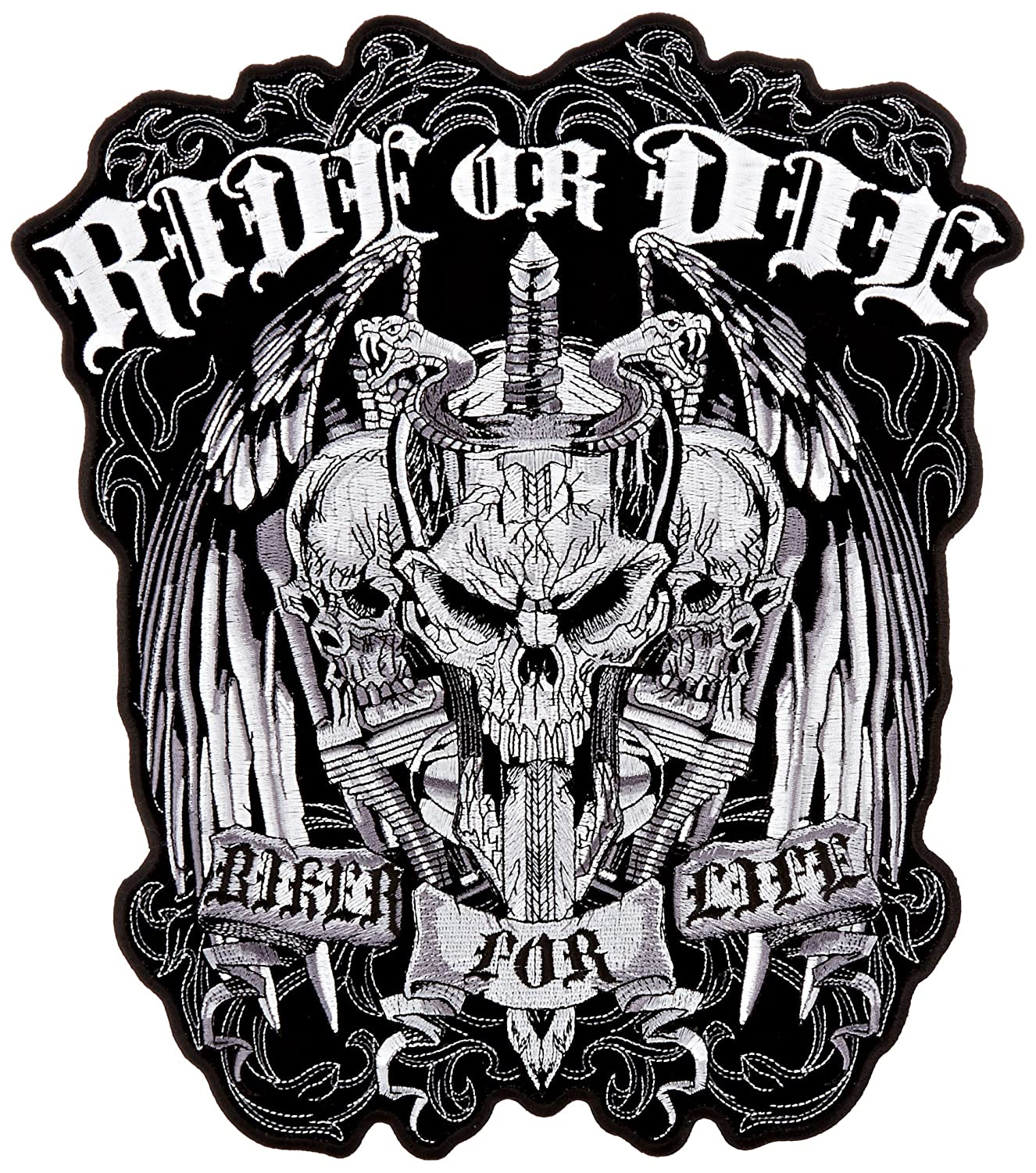 Hot Leathers Ride Or Die Biker For Life Patch (11' Width x 12' Height) PPA5187