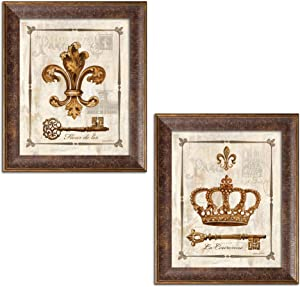 Gango Home Décor King and Queen Fleur De Lis, Keys and Crown Print Set; Two 8x10in Gold Trim Brown Framed Prints; Ready to Hang!