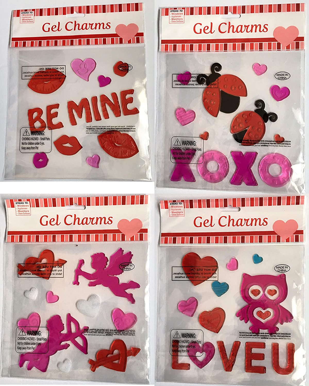 aabcbc4cbdeee Amazon.com: Gel Charms Valentines Day Window Clings Decoration ...