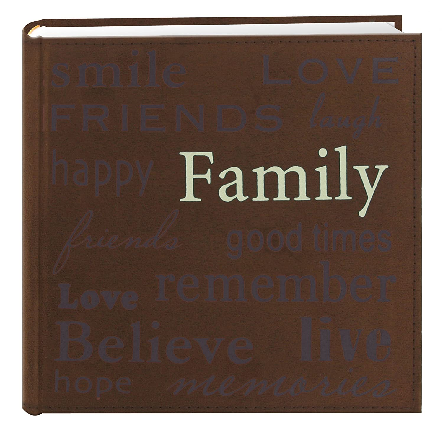 Pioneer Family Text Design Sewn Faux Suede Cover Photo Album Brown